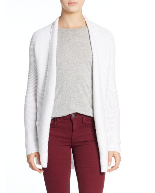 VINCE | White Ribbed Cotton Cardigan | Lyst