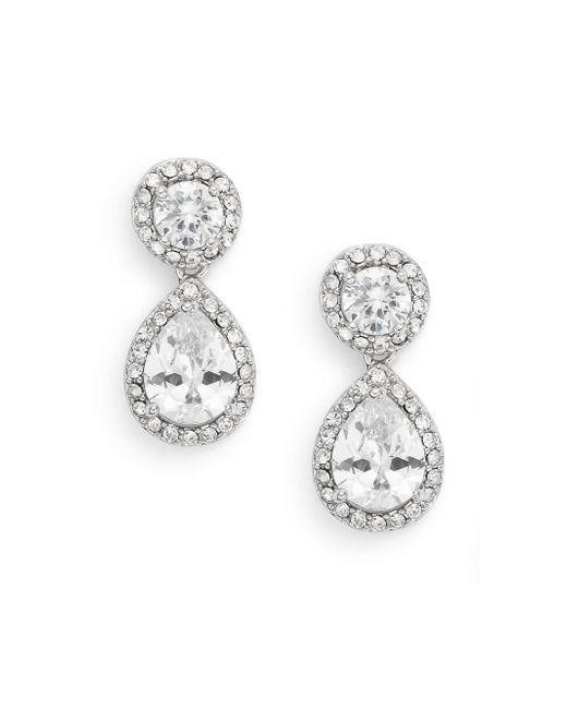 Saks Fifth Avenue | Metallic White Stone Double Drop Earrings/silvertone | Lyst