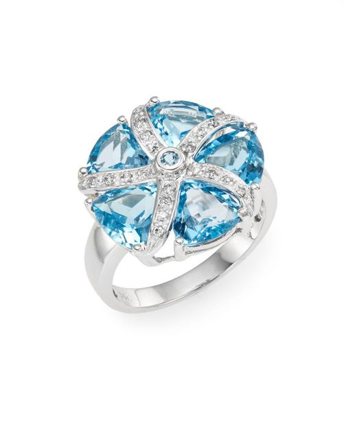 Effy | Metallic Diamond, Blue Topaz & 14k White Gold Ring | Lyst