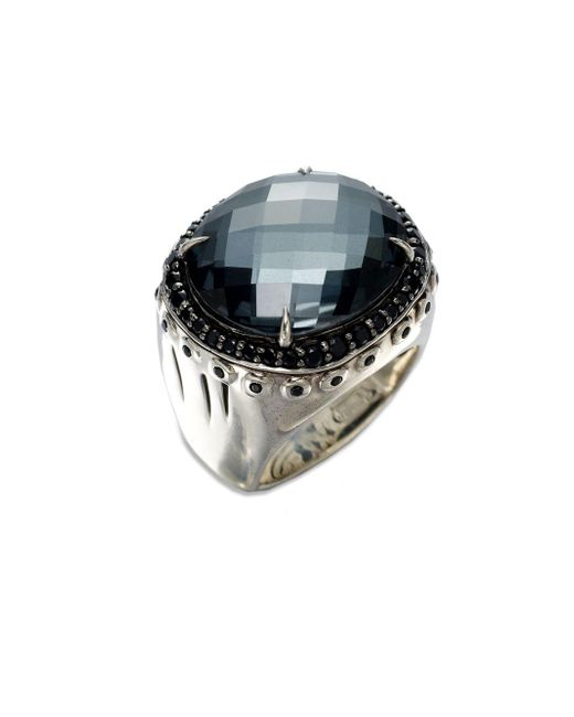 John Hardy | Metallic Bamboo Hematite, White Quartz, Black Spinel & Sterling Silver Dome Ring | Lyst