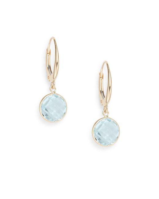 Saks Fifth Avenue | Lollipop Blue Topaz & 14k Yellow Gold Bezel Drop Earrings | Lyst