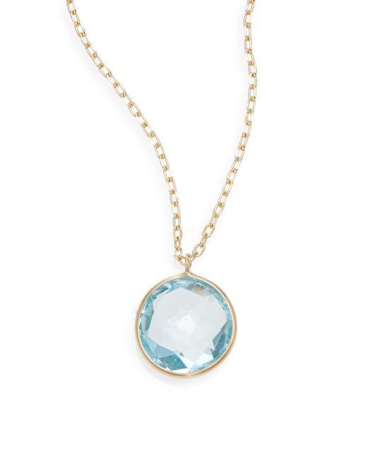 Saks Fifth Avenue | Lollipop Blue Topaz & 14k Yellow Gold Bezel Pendant Necklace | Lyst