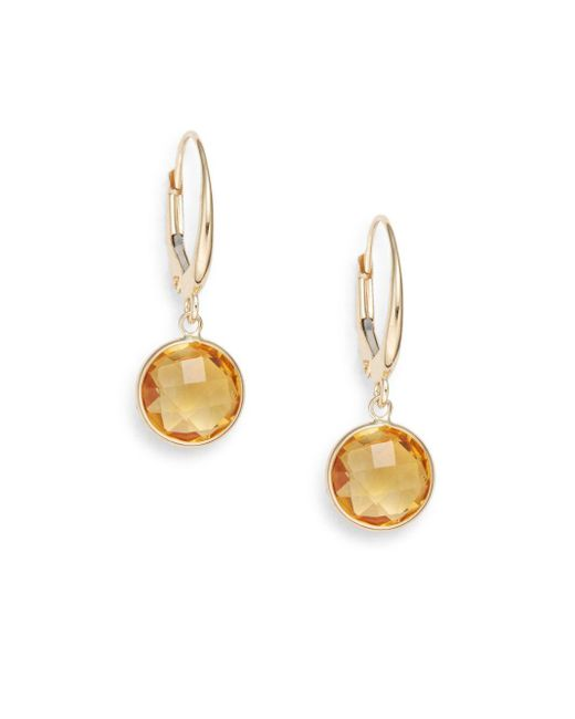 Saks Fifth Avenue | Metallic Lollipop Citrine & 14k Yellow Gold Bezel Drop Earrings | Lyst
