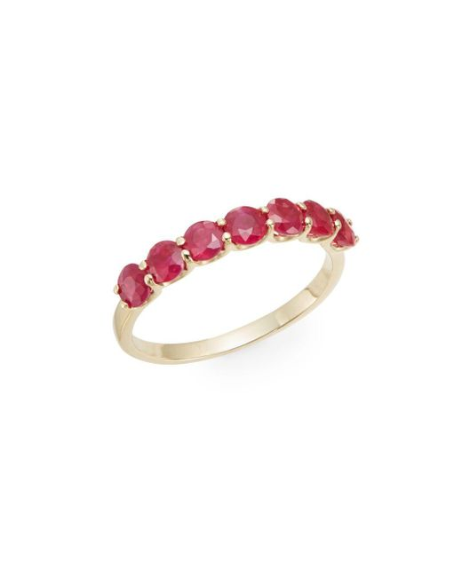 Effy | Red Seven-stone Ruby & 14k Yellow Gold Ring | Lyst