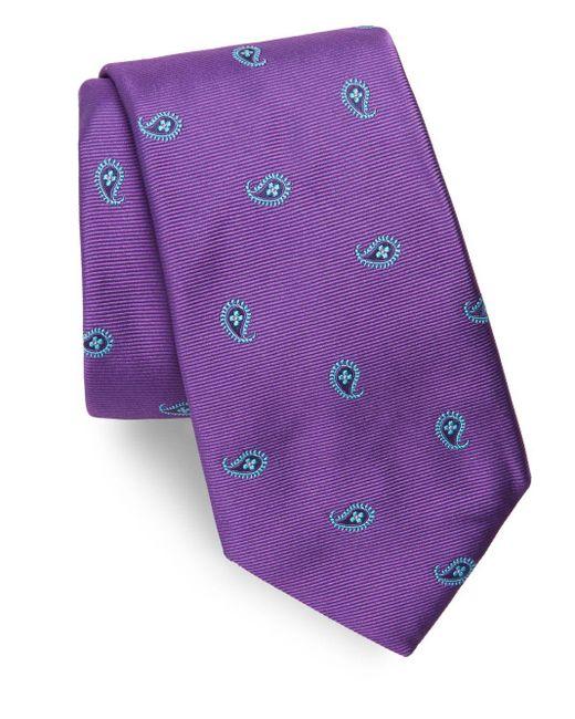 Ike Behar | Purple Paisley Silk Tie for Men | Lyst