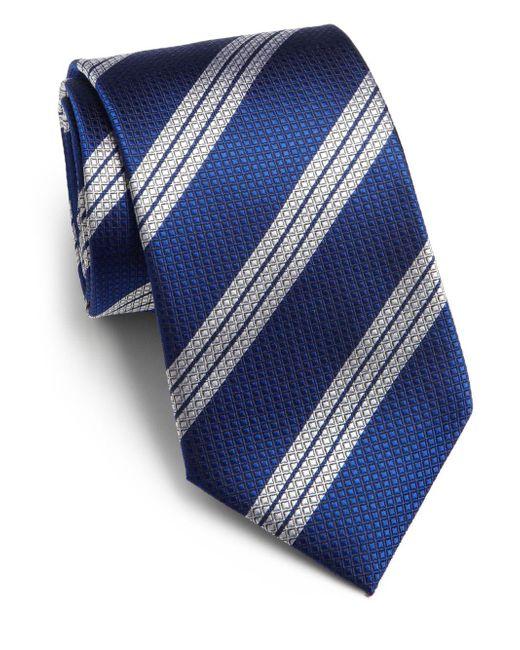 Saks Fifth Avenue | Blue Textured Stripe Silk Tie for Men | Lyst