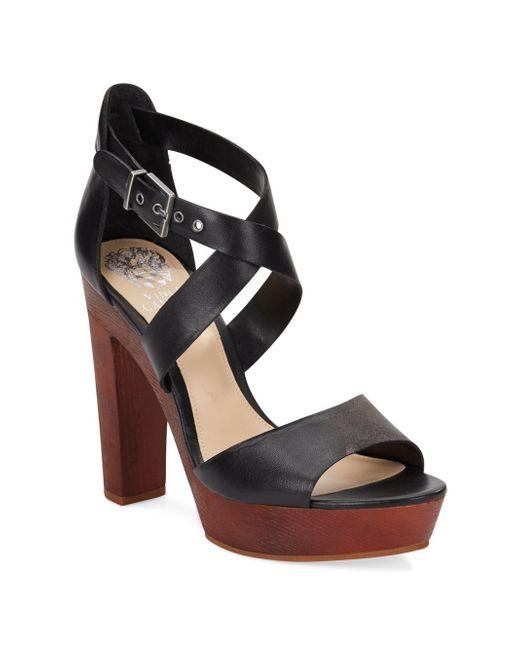 vince camuto eliza leather wood platform sandals in