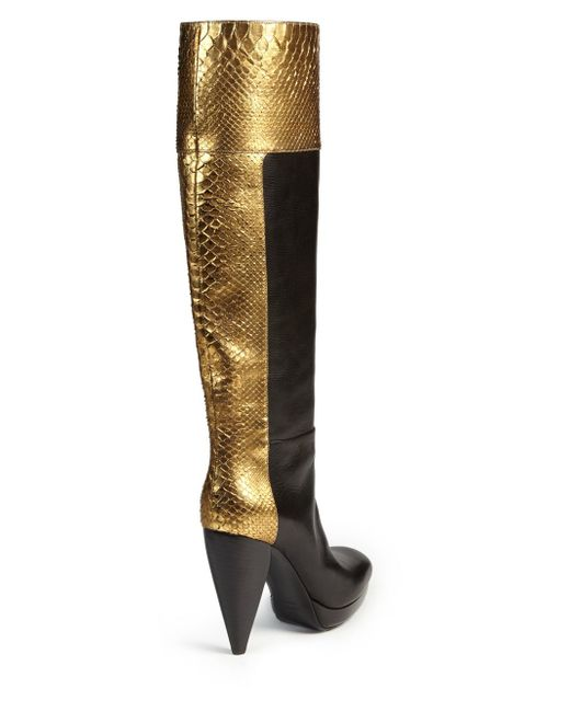 lanvin metallic python amp leather kneehigh boots in black