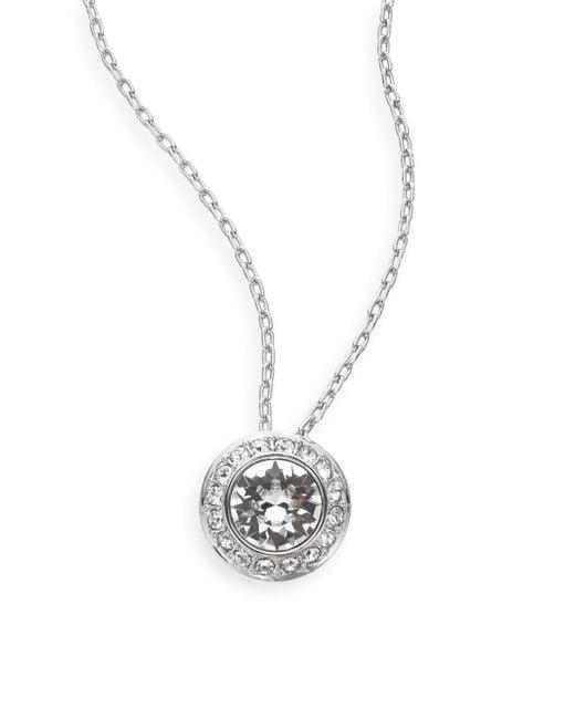 Swarovski   Metallic Pavé Disc Pendant Necklace And Matching Stud Earrings Set   Lyst