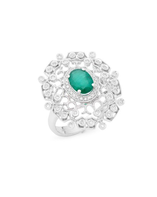 Effy | Diamond, Emerald & 14k White Gold Openwork Ring | Lyst