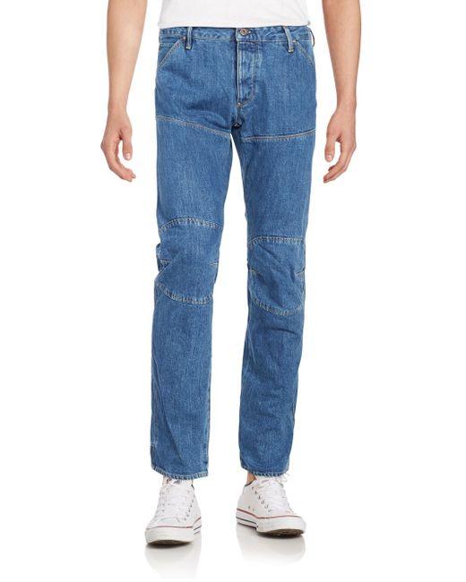 g star raw paneled straight leg jeans in blue for men lyst. Black Bedroom Furniture Sets. Home Design Ideas