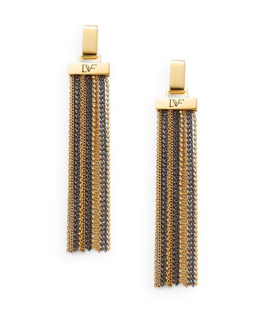 Diane von Furstenberg | Metallic All The Glitz Chain Tassel Drop Earrings | Lyst
