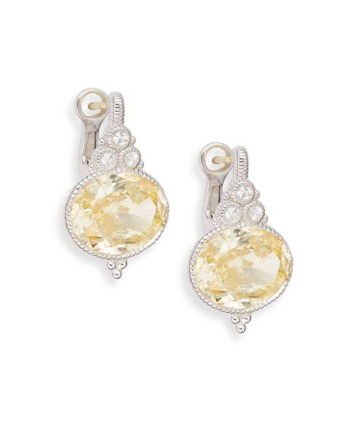 Judith Ripka | Metallic La Petite White Sapphire, Canary Crystal & Sterling Silver Drop Earrings | Lyst