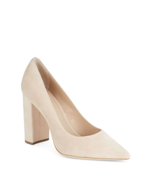 Pour La Victoire | Natural Celina Suede Block Heel Point Toe Pumps | Lyst