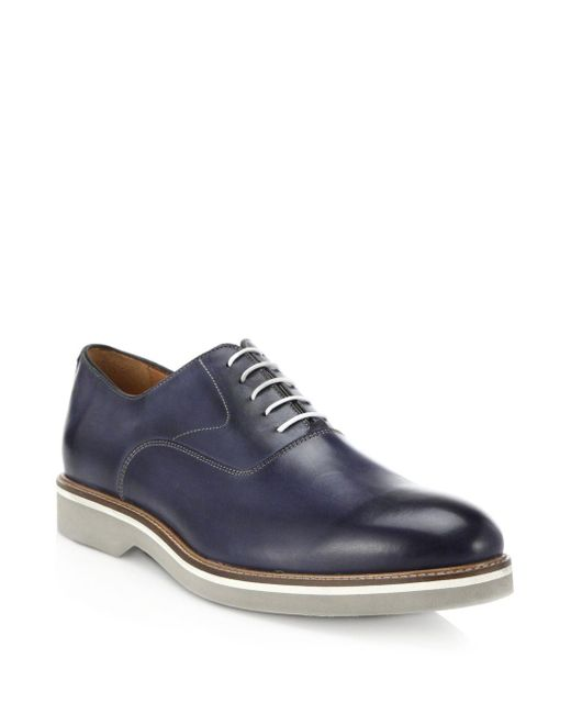 Saks Fifth Avenue | Blue Leather Oxfords for Men | Lyst