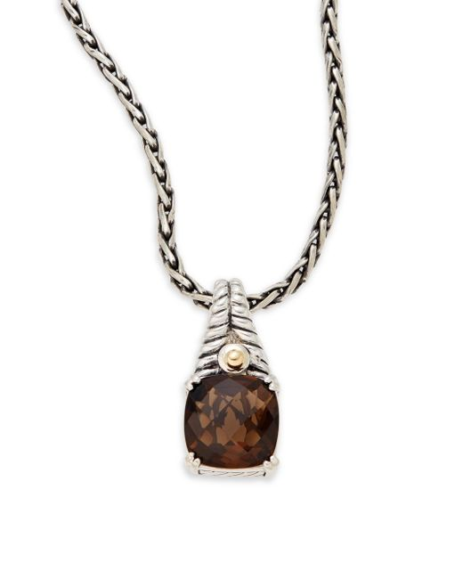 Effy | Metallic Smoky Quartz, Sterling Silver & 18k Yellow Gold Square Pendant Necklace | Lyst