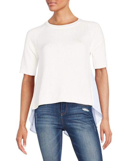 French Connection | White Solid Ribbed Roundneck Top | Lyst