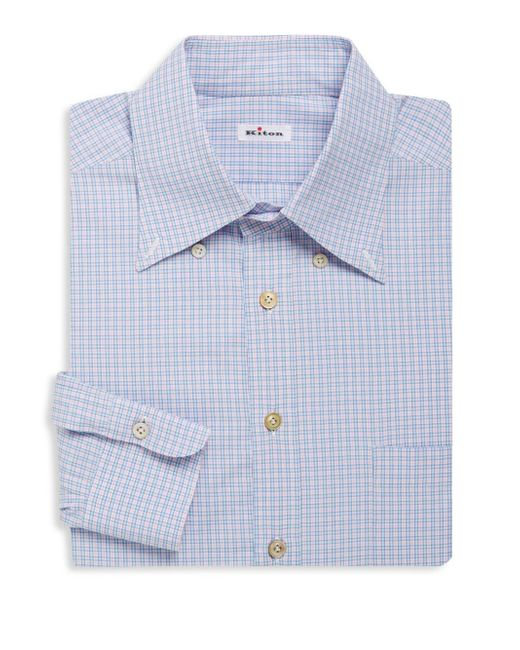 Kiton Checkered Long Sleeve Dress Shirt In Blue For Men Lyst