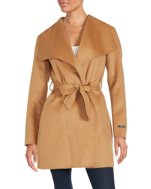 T Tahari Ella Double Face Wrap Coat In Natural Lyst