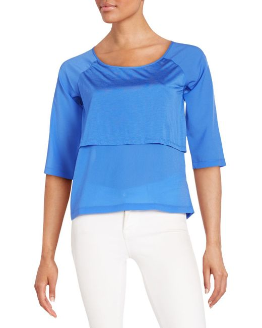 French Connection | Blue Solid Short Raglan Sleeves Top | Lyst