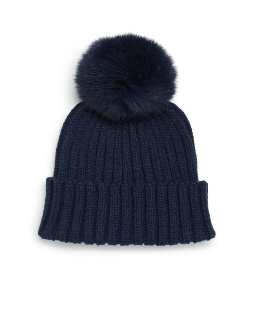 Adrienne Landau | Blue Rib-knit Rabbit Fur Pom-pom Hat | Lyst