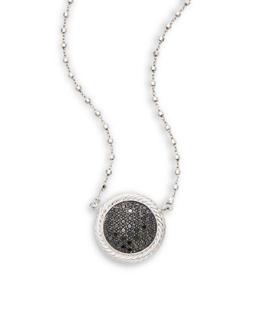 Alor | Black Diamond, 18k White Gold & Stainless Steel Pendant Necklace | Lyst