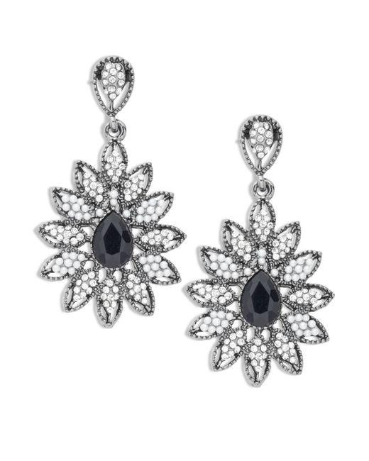 Cara | Metallic Floral Studded Drop Earrings | Lyst