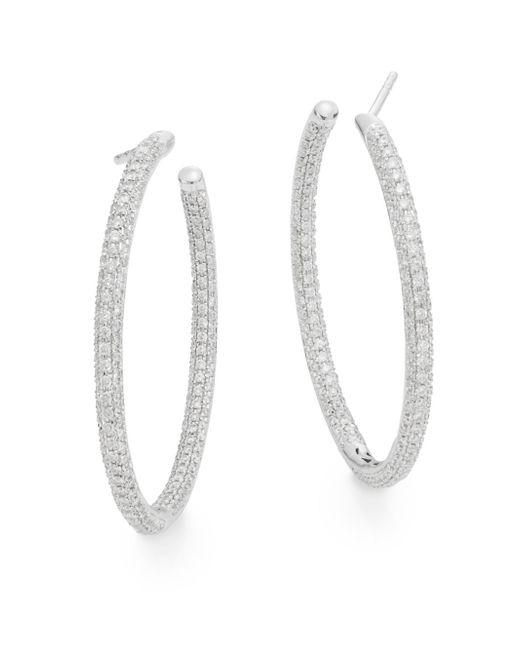 """Saks Fifth Avenue   Tcw 1.51 Diamond & 14k White Gold Hoop Earrings/1.25""""   Lyst"""