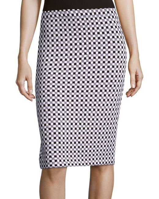 st checkered jacquard knit pencil skirt in black lyst