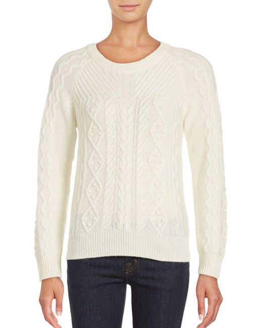 Saks Fifth Avenue   Natural Cashmere Blend Sweater   Lyst