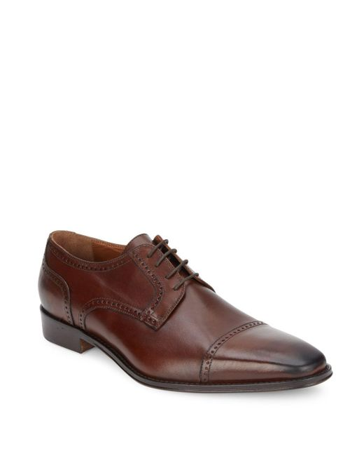 Saks Fifth Avenue   Brown Lace-up Leather Oxfords for Men   Lyst