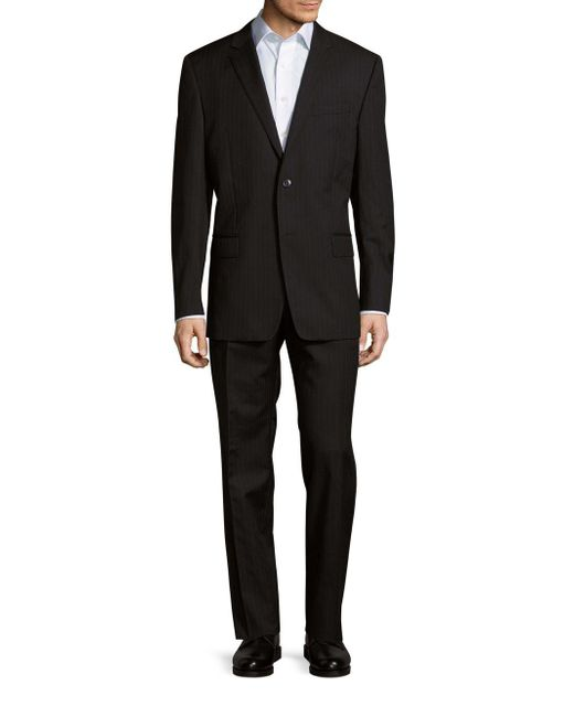 Versace Classic-fit Pinstripe Wool Suit In Black For Men