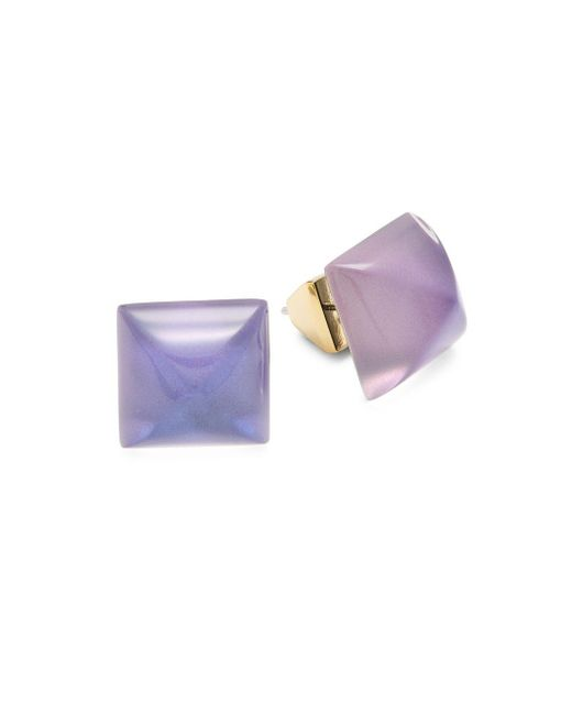 Alexis Bittar | Purple Lucite 10k Gold-plated Faceted Stud Earrings | Lyst