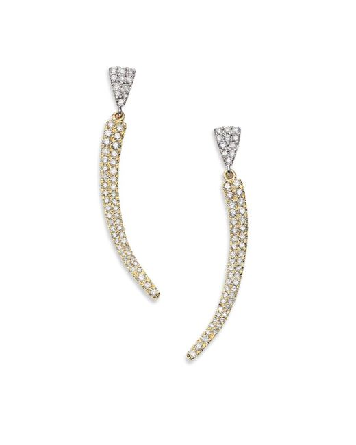 Meira T | Metallic Diamond, 14k White & Yellow Gold Curved Bar Drop Earrings | Lyst