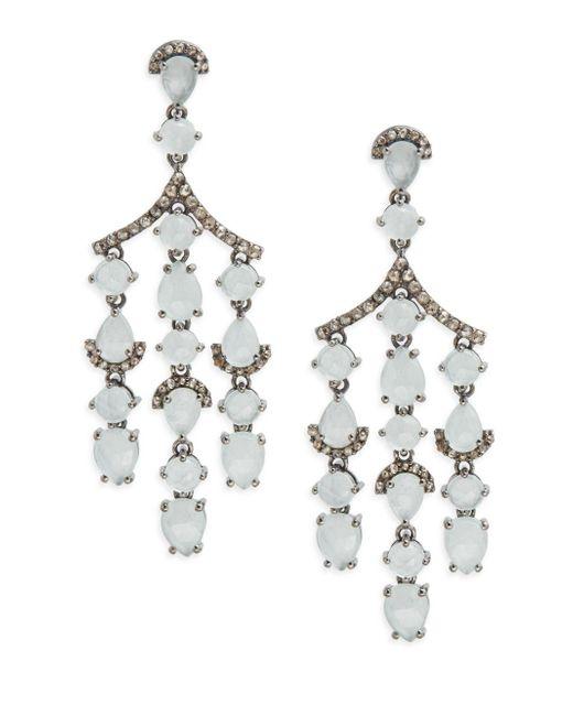 Bavna | Metallic Diamond & Aquamarine Drop Earrings | Lyst
