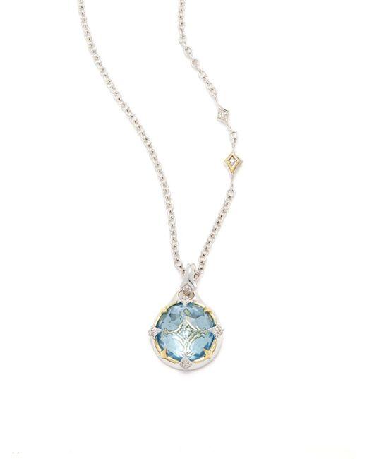 Judith Ripka | Windrose Diamond, Sky Blue Topaz & Sterling Silver Pendant Necklace | Lyst