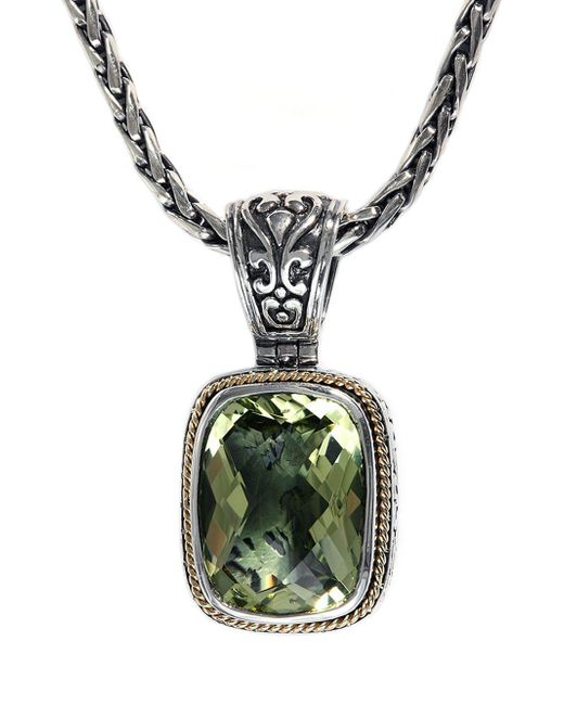 Effy | Metallic Balissima Sterling Silver With 18kt. Yellow Gold And Lemon Quartz Pendant | Lyst