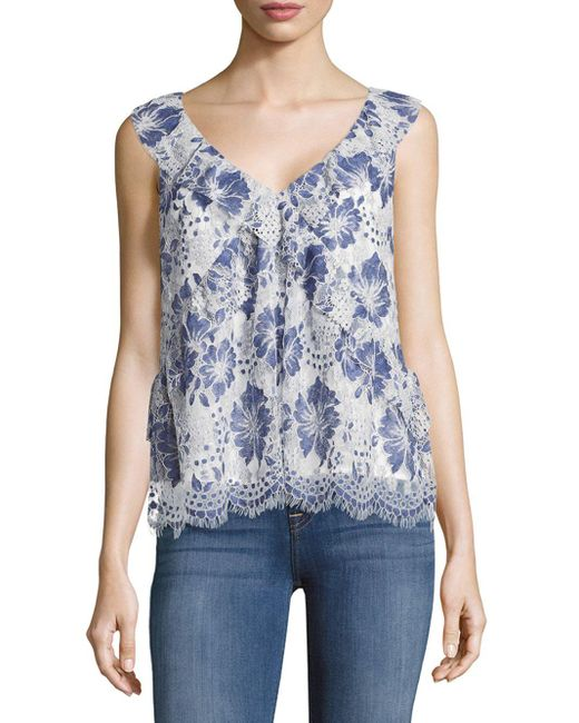 French Connection | Blue Antonia Lace Floral Top | Lyst