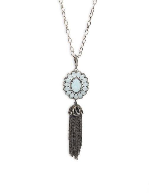 Bavna | Metallic Pave Diamonds & Aquamarine Necklace | Lyst