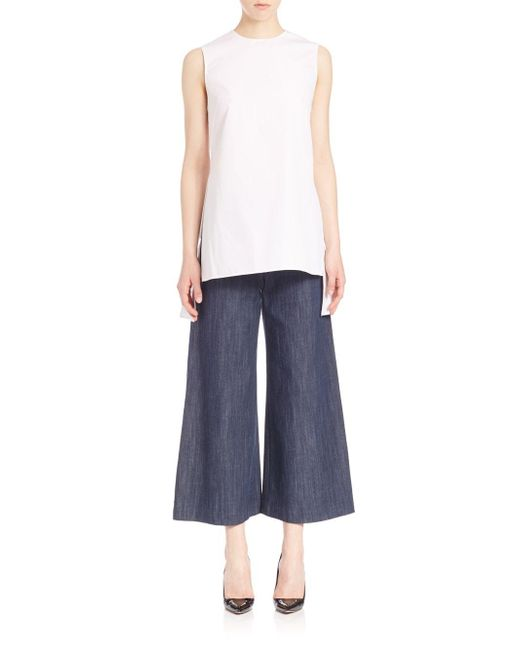Adam Lippes | White Solid Sleeveless Blouse | Lyst