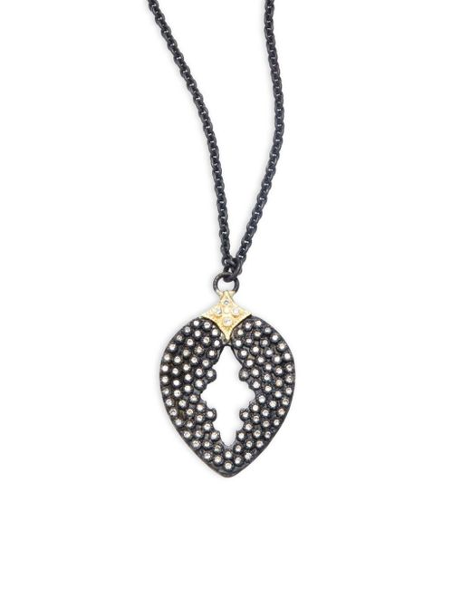 Armenta | Metallic Old World Diamonds, 18k Yellow Gold & Sterling Silver Pear-cut Pendant Necklace | Lyst