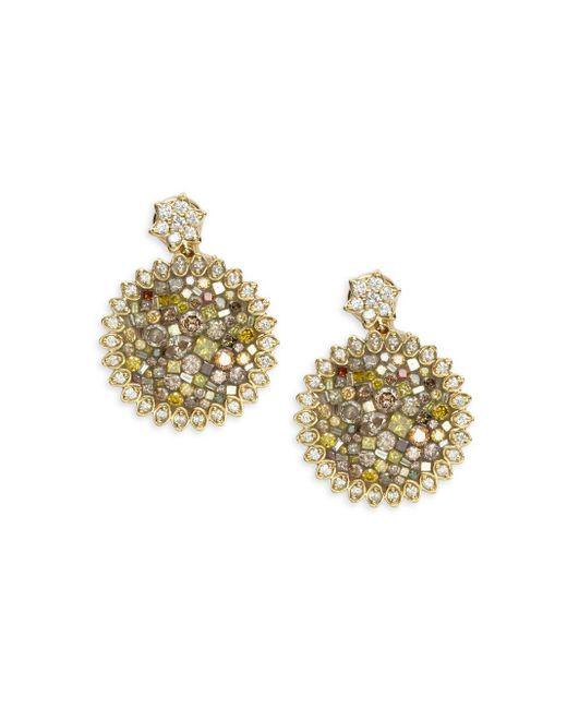 Plevé   Diamond & 18k Yellow Gold Sunflower Earrings   Lyst