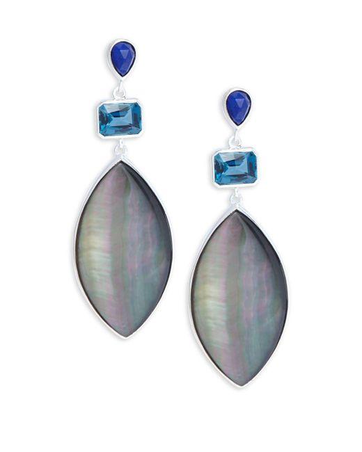 Stephen Dweck | White Mother-of-pearl, London Blue Topaz, Crystal, Lapis Lazuli, Quartz & Sterling Silver Drop Earrings | Lyst