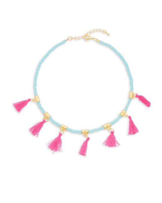 Elise M   Multicolor Glass And Fabric Choker   Lyst