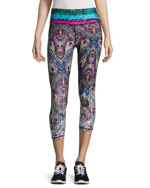 Nanette Lepore   Blue Paisley Cropped Yoga Pants   Lyst