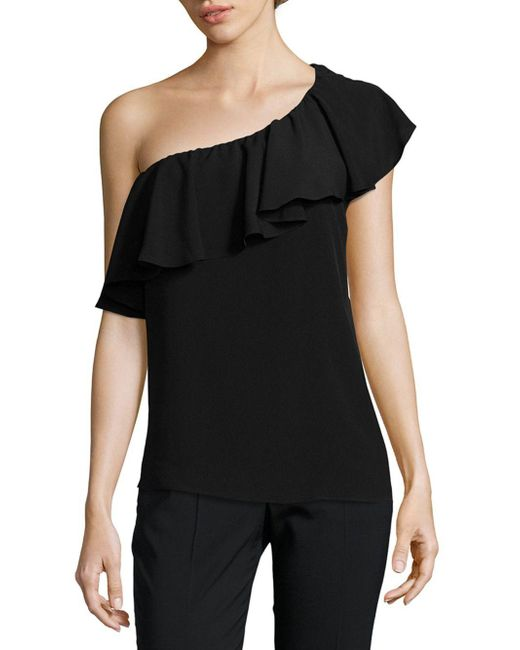 French Connection | Black Crepe Light One-shoulder Top | Lyst