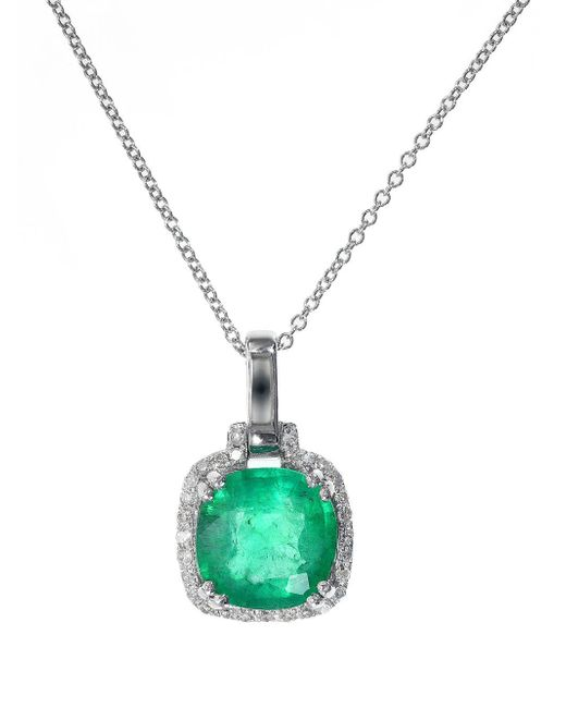Effy | Green Emerald Diamond And 14k White Gold Pendant Necklace | Lyst