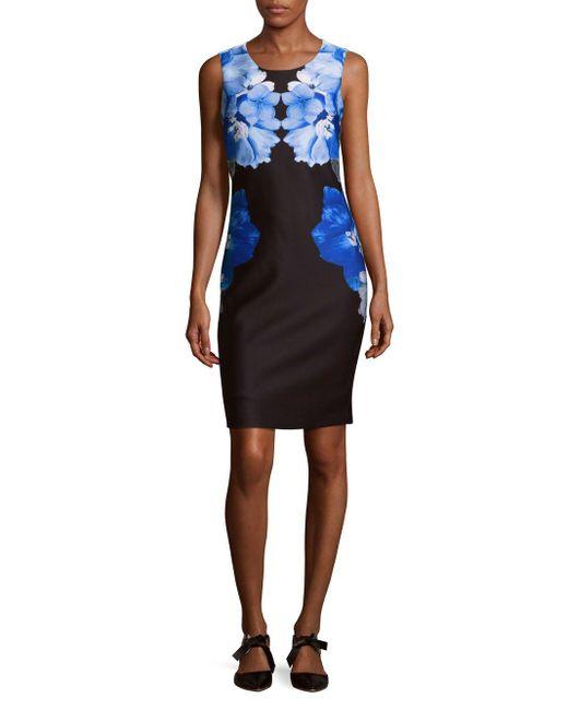 Calvin Klein | Black Scuba Sheath Dress | Lyst