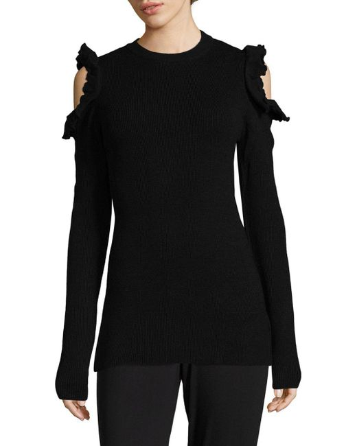 Saks Fifth Avenue | Black Ruffled Cold Shoulder Sweater | Lyst