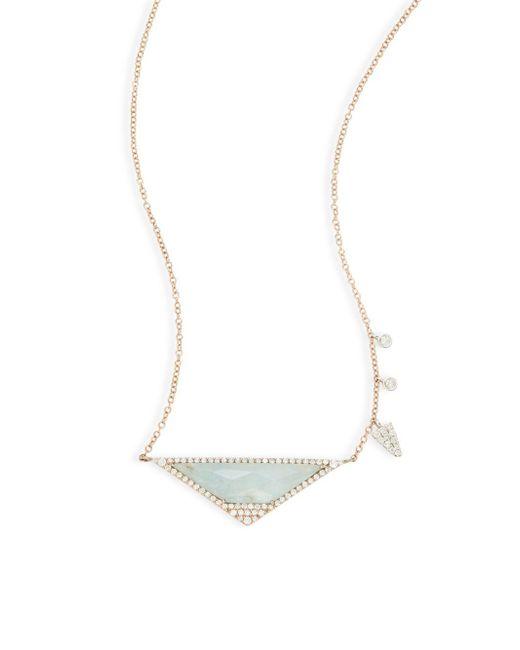 Meira T   Green Diamond & 14k Rose Gold Pendant Necklace   Lyst